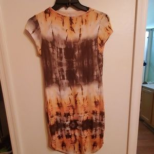 Great Material Brow & Peach Dress